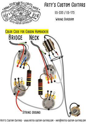 ES-339 Wiring Diagram 50's Fifties www.artys-custom-guitars.com