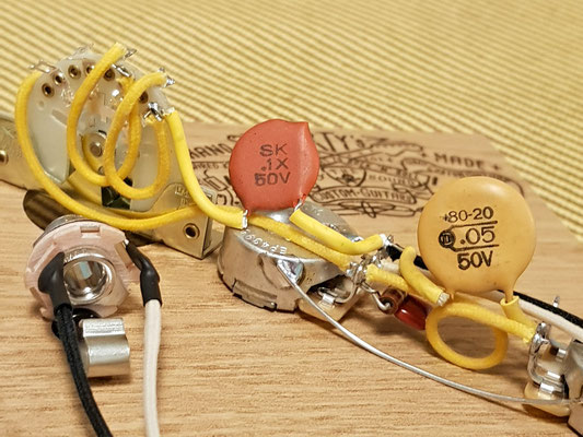 Telecaster wiring with Dime Capacitors artys-custom-guitars.com