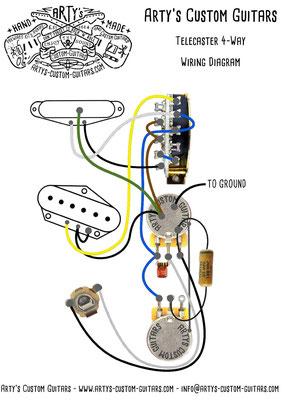 Telecaster 4-Way Wiring Diagram www.artys-custom-guitars.com