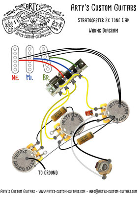 STRATOCASTER Wiring Diagram 2x TONE SPLIT  Arty's Custom Guitars