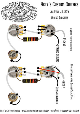 Wiring Diagram Les Paul Junior 50's PREWIRED KIT Wiring Harness artys-custom-guitars.com