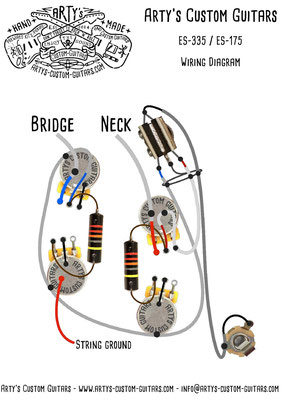 50's Fifties ES-330 ES-335 WIRING DIAGRAM Vintage Pickups  artys-custom-guitars.com