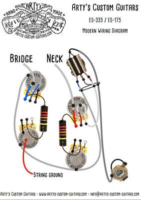 Gibson ES-175 ES-295 Modern Wiring Diagram Vintage Pickups Arty's Custom Guitars