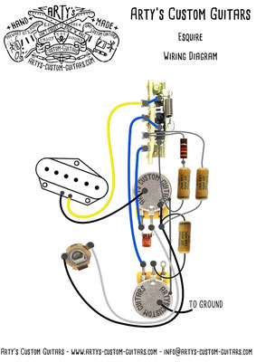 wiring harness esquire tele - arty's custom guitars  arty's custom guitars