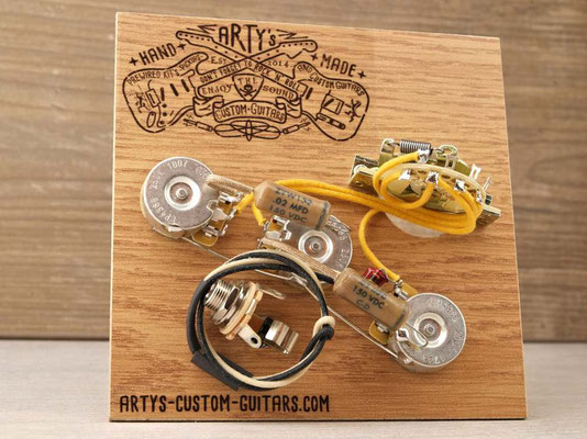 PREWIRED HARNESS STRATOCASTER 2x TONE SPLIT artys-custom-guitars.com strat