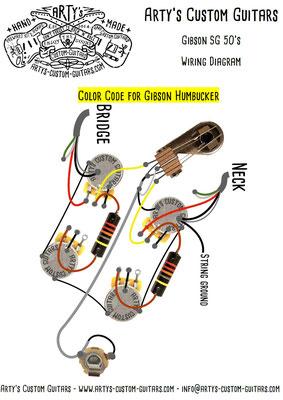 Gibson SG Wiring Diagram 50's Fifties www.artys-custom-guitars.com
