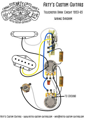 Wiring Diagram Telecaster Dark Circuit 1953-65 Arty's Custom Guitars