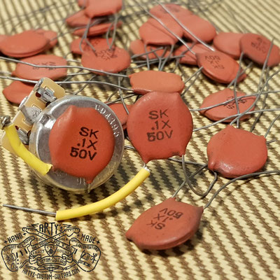"NOS ""Red Dime"" SK .1X 50V Ceramic Capacitor Arty's Custom Guitars"