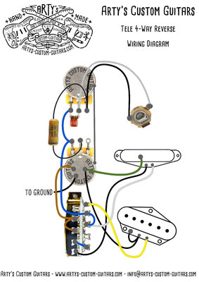Telecaster Wiring Diagram 3-Way Reverse www.artys-custom-guitars.com