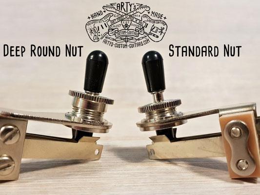 Deep thread Round Nut for Switchcraft Toggle Switch www.artys-custom-guitars.com