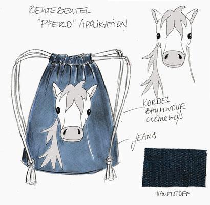 Entwurf Zeichnung Beutebeutel Jeans (Rucksack) mit Pferd- Applikation.