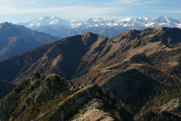 Blick vom Pizzo Ruscada zu den Walliser Alpen