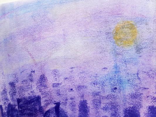 Hochhäuser bei Nebel    Pastellkreide auf Papier 30 x 20  50,-