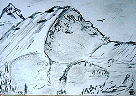 Ausblick vom Graukogel Gastein Bleistift auf Papier 15 x 10  60,-