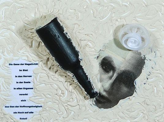"""Waltraud Zechmeister """"Die Gene des Negativen"""" Acryl 3D auf Keilrahmen 20 x 40, 300,-"""