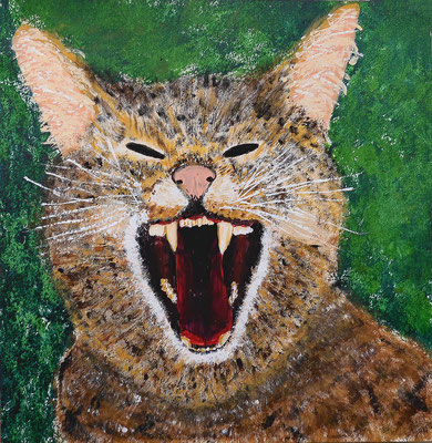 Wild wild cat Acryl auf Malbrett 30 x 30, 270,- / 2021