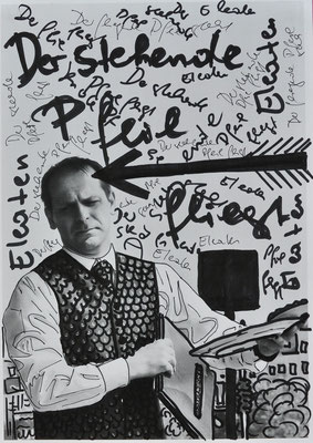"""Waltraud Zechmeister """"Der fliegende Pfeil"""" 20 x 30 Edding und Korrekturlack auf Papier 200,-"""