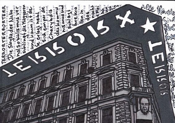 """Waltraud Zechmeister """"Gleichgestellt Andrassy"""" 20 x 30 Edding und Korrekturlack auf Papier"""
