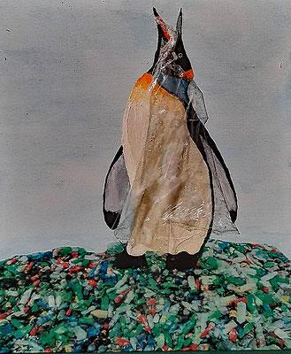 Can you get rid of all this plastic!?  Mischtechnik auf Malbrett 24 x 30, 200,- / 2021