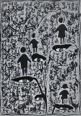 """Waltraud Zechmeister """"Hand"""" 20 x 30 Edding und Korrekturlack auf Papier 200,-"""