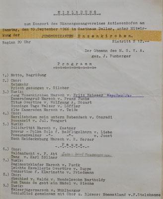 1966: Einladung zum Konzert MGV