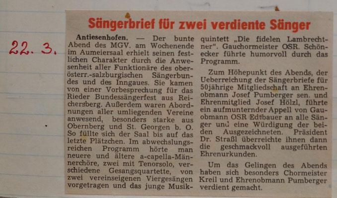 1970: Sängerbrief
