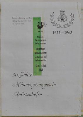 1963: 30 Jahre Männergesangsverein