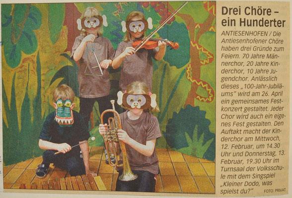 2003: Kleinder Dodo was Spielst du Musical der Kleinen  zum Jubiläum 100 Jahre Antiesenhofener Chöre
