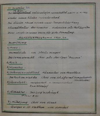 1962: Auszug Chronik