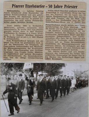 1967: Pfarrer Etzelstorfer - 50 Jahre Priester