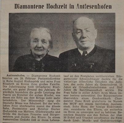 1965: Diamantene Hochzeit: August u. Elise Hochaspöck