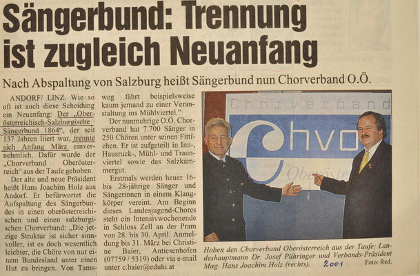 2000: Sängerbund Trennung ist zugleich Neuanfang