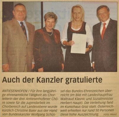 2003: Ehrung für Chorleiterin Kons. Christine Baier Bundesehrenzeichen für ehrenamtliche u.. freiwillige Verdienste