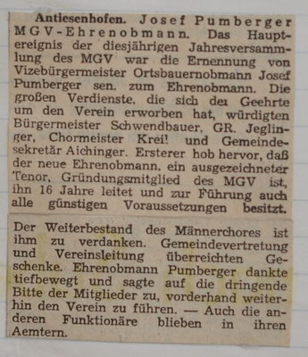 1967:Antiesenhofen MGV-Ehrenobmann Pumberger Josef