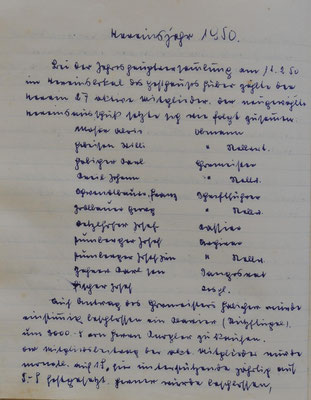 Auszug Chronik: Vereinsjahr 1950