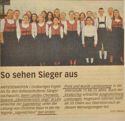 2002: Artikel Jugendchor beim Landes-Chorwettbewerb Oberösterreich singt