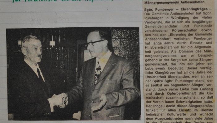 1973: Ehrenträger Pumberger