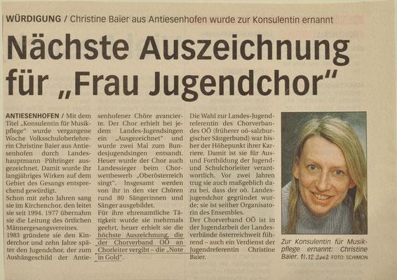 2002: Konsulentin  für Christine Baier!