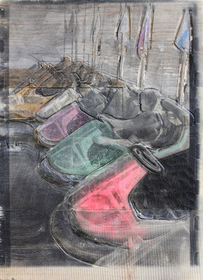 Autoscooter (groß), 2014, Pappel Mixed Media, ca. 66 x 44 x 7 cm