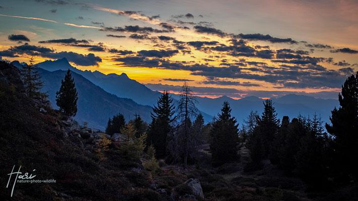 Sonnenuntergang Richtung Obervinschgau