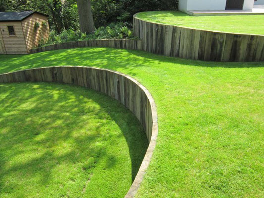 Services and Diy tips to Terrace and Level a sloping ... on Garden Designs For Sloping Gardens id=81448