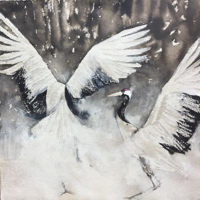 Tanz der Kraniche, 2017, 100 x 100 cm, Sepia, Tusche und Acryl auf Papier auf Leinwand