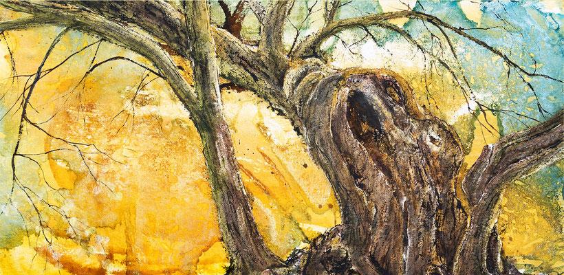 Die alte Linde, 2019, 90 x 180 cm, Tusche und Acryl auf Papier auf Leinwand