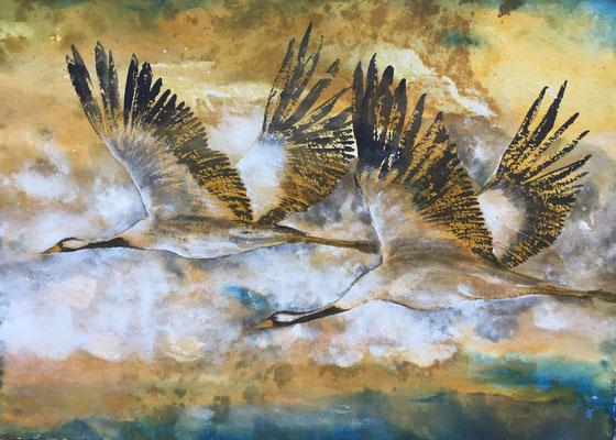 Zwei Kraniche, 2018, 100 x 140 cm, Sepia, Tusche und Acryl auf Papier auf Leinwand