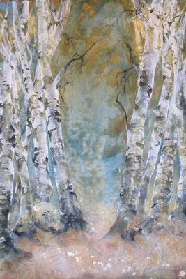Im Wandel, 2016, 100 x 140 cm, Tusche und Acryl auf Papier auf Leinwand