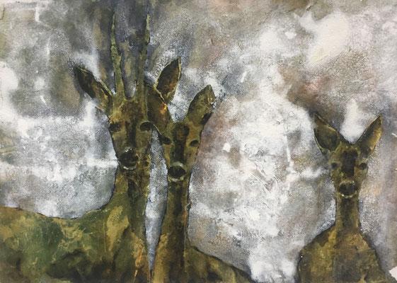 Rehe, 2019, 100 x 140 cm, Tusche und Acryl auf Papier auf Leinwand