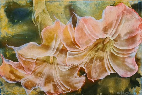 Zucchiniblüten, 2020, 100x140 cm, Mischtechnik auf Leinwand