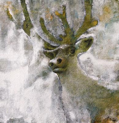 Rentier, 2019, 100 x 100 cm, Mischtechnik auf Papier auf Leinwand