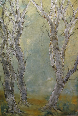 Birkenweg, 2016,  100 x 140 cm, Tusche und Acryl auf Papier auf Leinwand