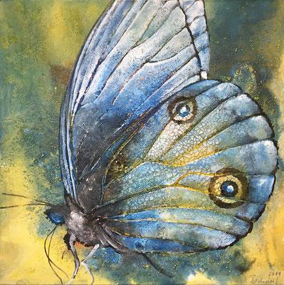 Blue Monk, 2018, 70 x 70 cm, Mischtechnik auf Leinwand